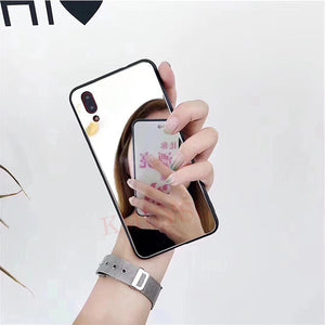 Hot Fashion Mirror Makeup Phone Case for iPhone 11 Pro Max 11 Pro 11 TPU Back Cover for iPhone XS Max XR XS Samsung Galaxy A50 2019 A70 2019 S10 Plus S9 Plus Note 9 Huawei Honor 10 Lite P30 Pro P30 Lite P20 Pro Y6 2019 Y5 2019 Y7 Pro 2019 P Smart 2019 Hon