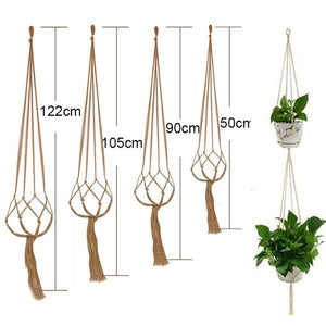 90/105/122cm Vintage Decor Macrame Plant Hanger Basket Flowerpot Plant Holder Macrame Hanging Knotted Lifting Rope Garden Home Garden Decor