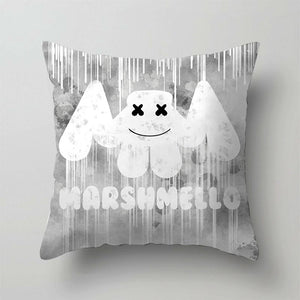 1PC DJ Singer Marshmello Print Pillowcase Bedroom Sofa Waist Cushions Cover Fronha Federa Funda De Almohada Pillow Sofa Car Bed Sofa Pillow Case Bedroom Decoration Cushion Cover(Without Inner)