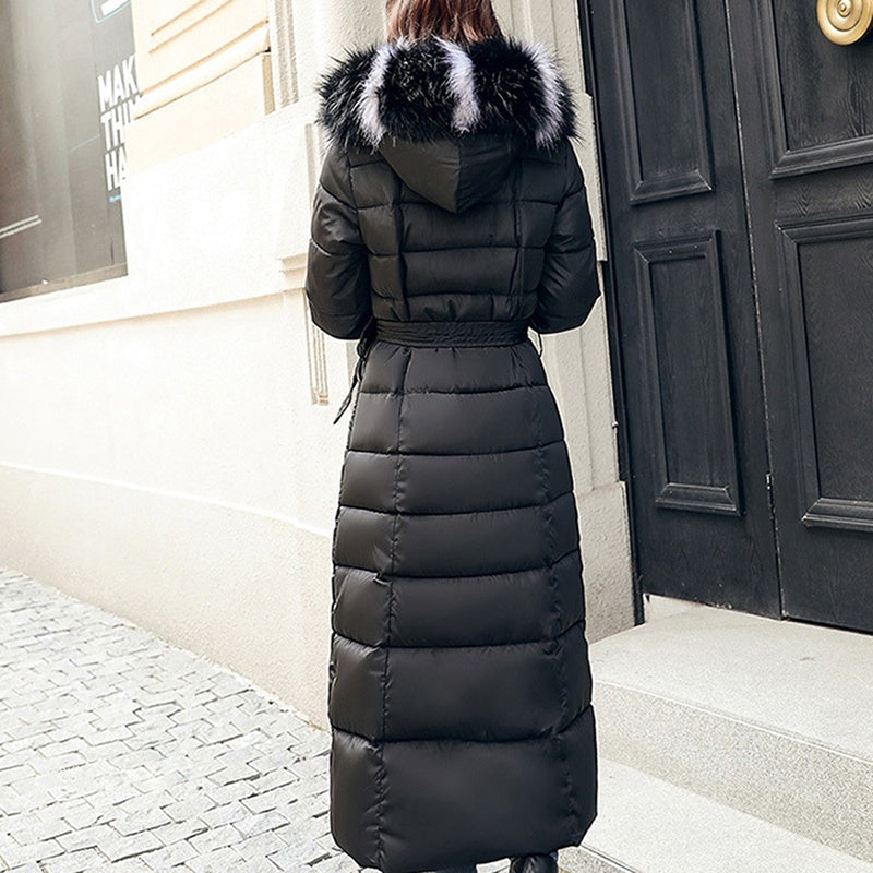 Winter Women's Down Coat Ladies Cotton-Padded Thickening Down Winter Coat Long Jacket Fashion Down Parka Clothes Plus Size S-3XL