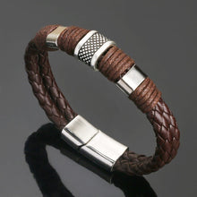 Load image into Gallery viewer, Retro men's leather bracelet magnet buckle bracelet personality domineering leather rope bracelet