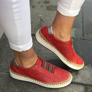 New Fashion Women Shoes Soft Leather Hollow-Out Casual Breathable Women Sneakers