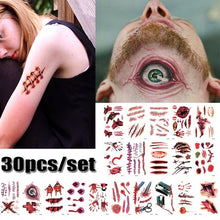 Load image into Gallery viewer, 30 PCS Halloween Waterproof Temporary Tattoos Terror Wound Realistic Blood Injury Scar Fake Tattoo Sticker Bloody Makeup