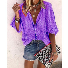 Load image into Gallery viewer, New Fashion Women Plus Size Casual T-shirt 3/4 Sleeve Blouse Button Printing Loose Tops