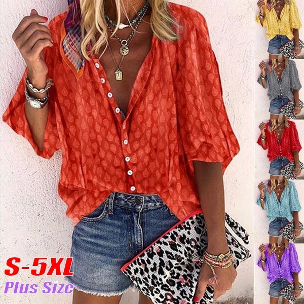 New Fashion Women Plus Size Casual T-shirt 3/4 Sleeve Blouse Button Printing Loose Tops
