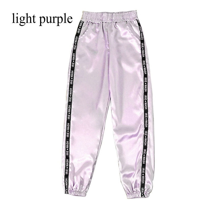 1pc Summer Women Satin Highlight Pants With Pocket Sports Pants