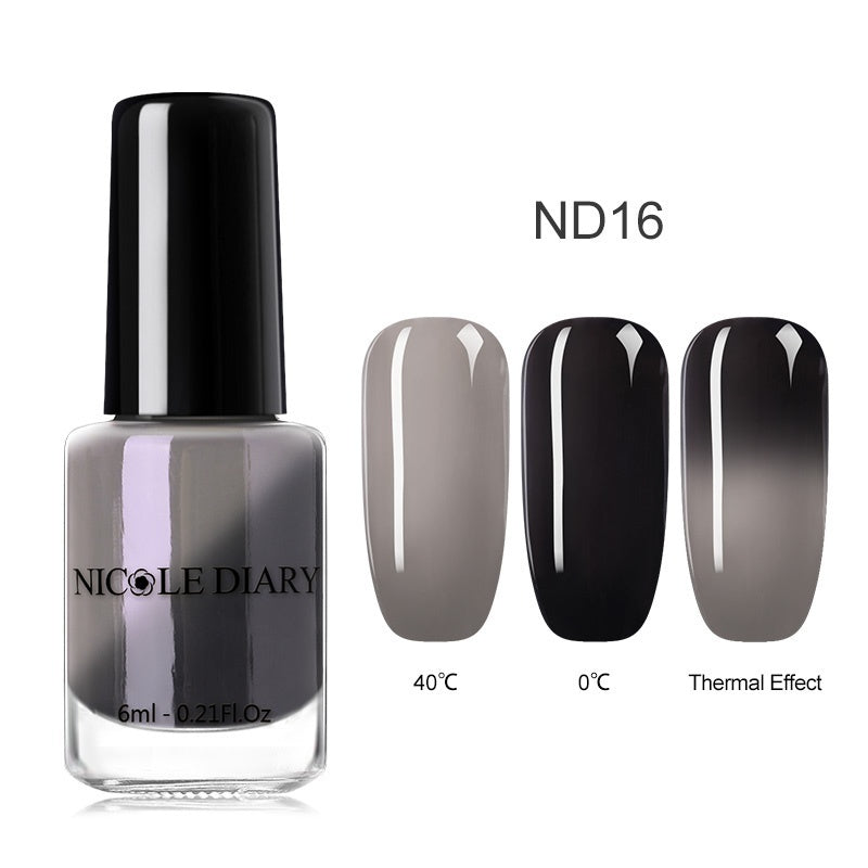 NICOLE DIARY Thermal Color Changing Nail Polish Shining Peel Off Nail Art