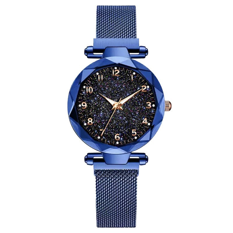 Fashion Ladies Watch Ladies Geometric Quartz Watch Mesh Magnet Buckle Star Watch Luxury Gift Starry Flashing Watch