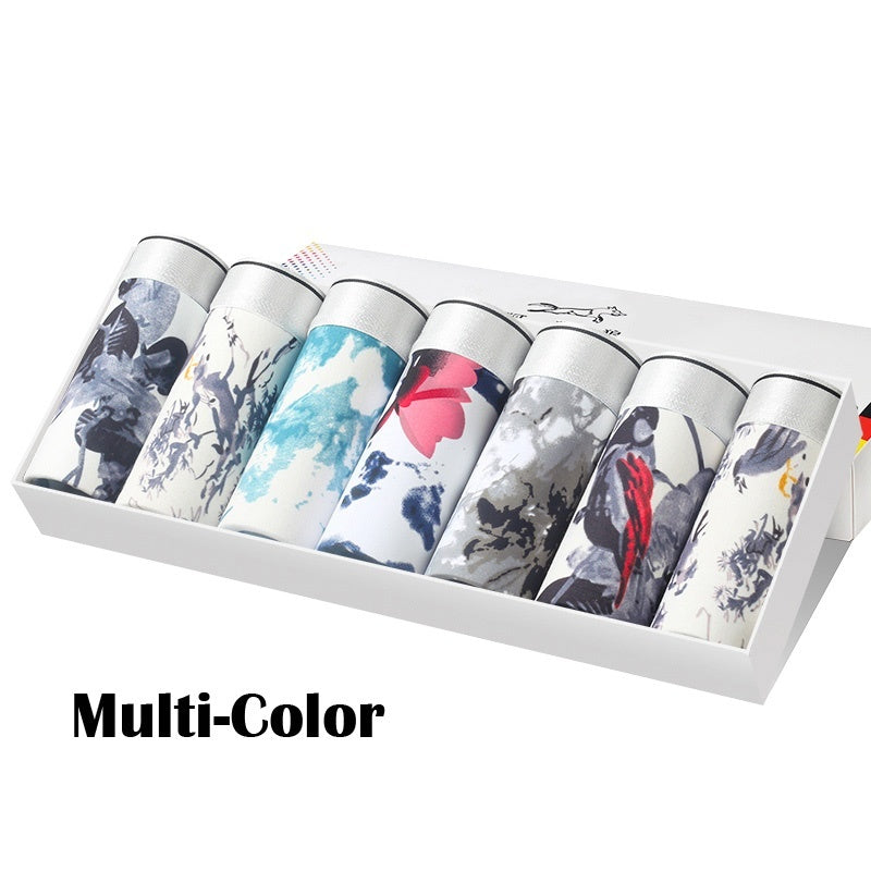7Pcs/Box Men's Ink Painting Style Underwear Soft Breathable Cotton Boxer Shorts