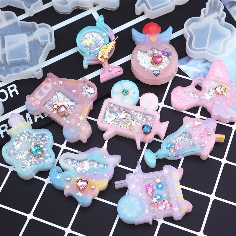 DIY Epoxy Resin Charms Jewelry Candy Silicone Mold UV Resin Tool Star dessert Decor