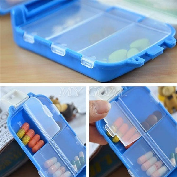 Portable Folding Vitamin Medicine Drug Pill Box Case Organizer Tablet Container