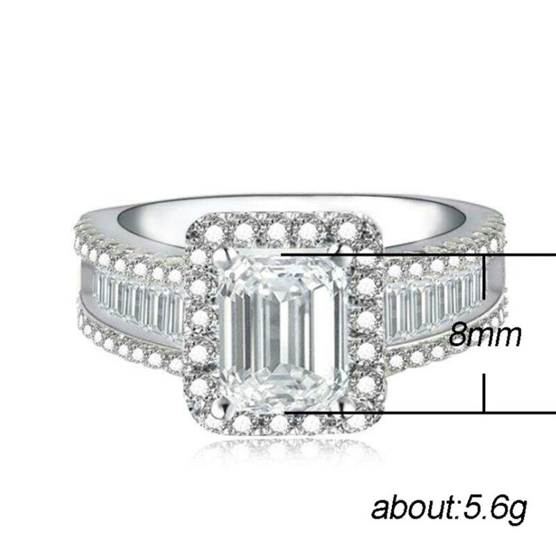 Luxury Exquisite 925 Sterling Silver Natural White Sapphire Ring Bridal Wedding Anniversary Gift Princess Engagement Diamond Jewelry Size 6-10