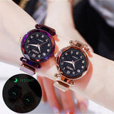 1PC Women Watches Rose Gold Ladies Luminous Starry Sky Magnet Wrist Watches Diamond Geometric Surface Casual Quartz Watch