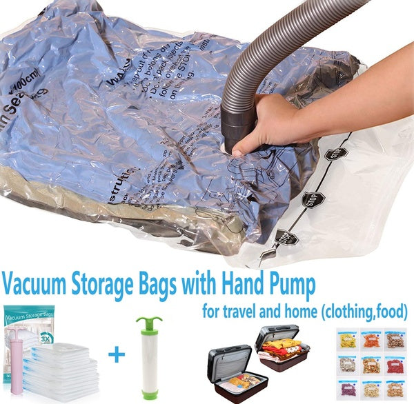 10Pcs Reusable Simple Houseware Vacuum Storage Space Saver for Pillows, Towel, Blanket, Clothes Food Bags  With Hand Pump (34x45CM)
