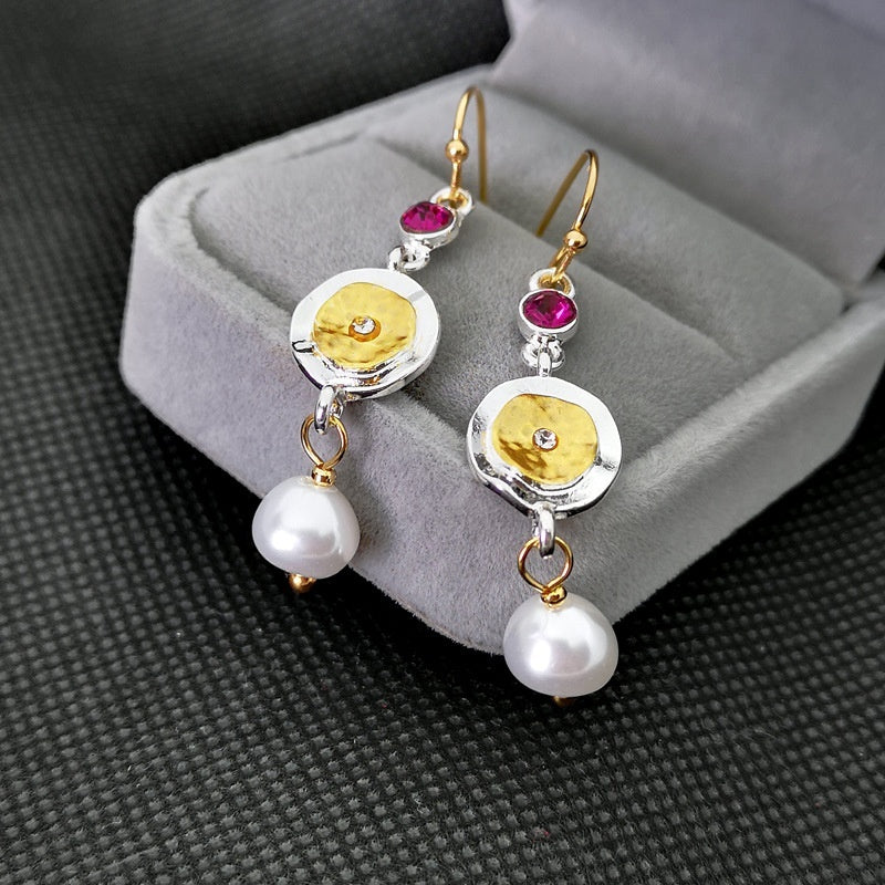 925 Sterling Silver Pearl Ruby 14 K Gold Two Stone Women Drop Dangle Earrings Wedding Engagement Valentines Day Gift