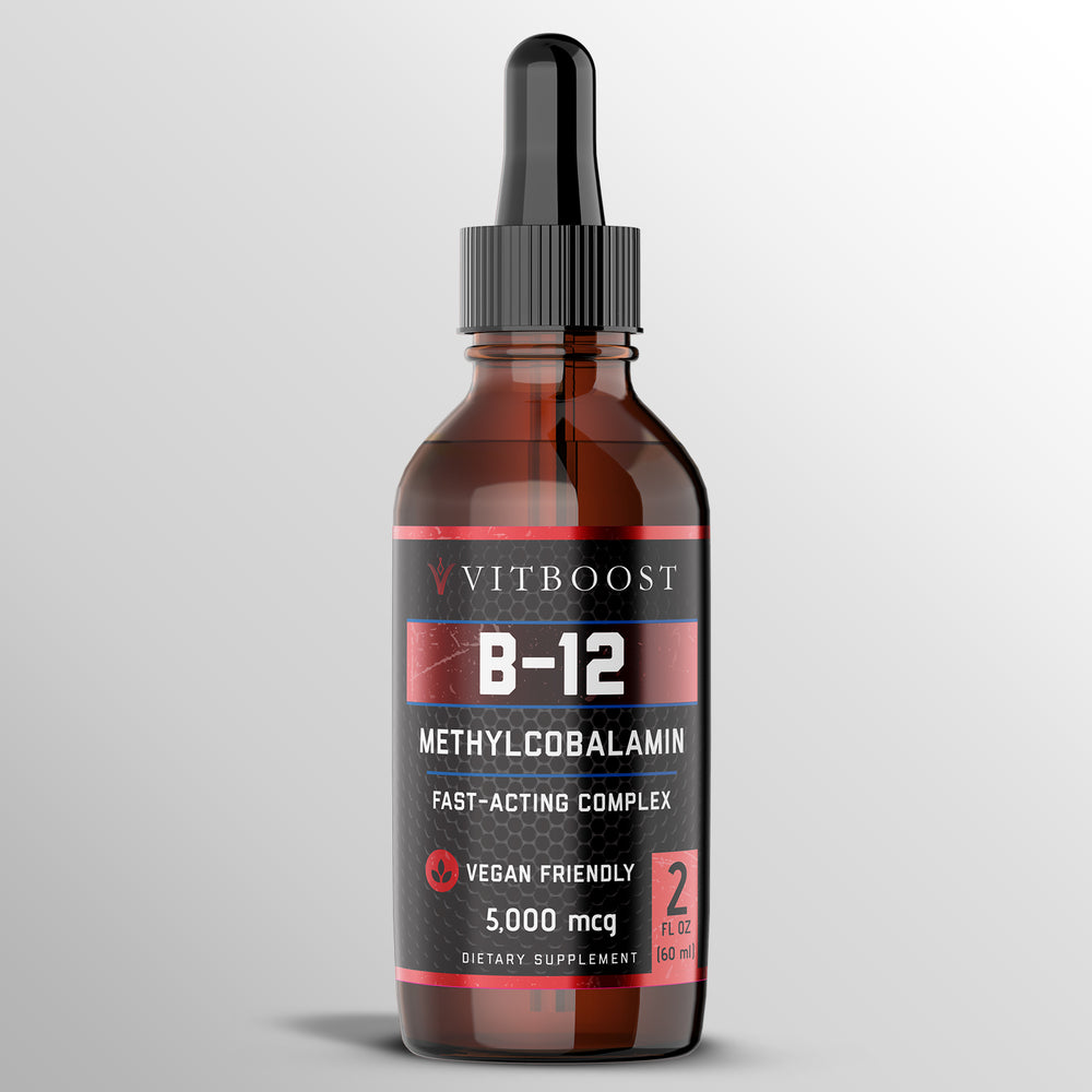 Vegan Liquid B-12 Drops – 60 x 5000 mcg Extra Strength Raspberry Flavored Vitamin B12 Liquid Methylcobalamin sublingual Supplement | Designed to Maximize Absorption & Energy