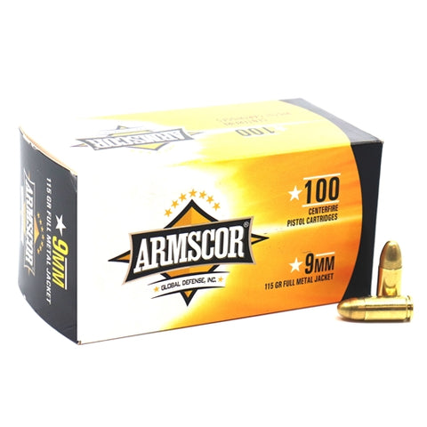 9mm 115gr FMJ 100 rounds