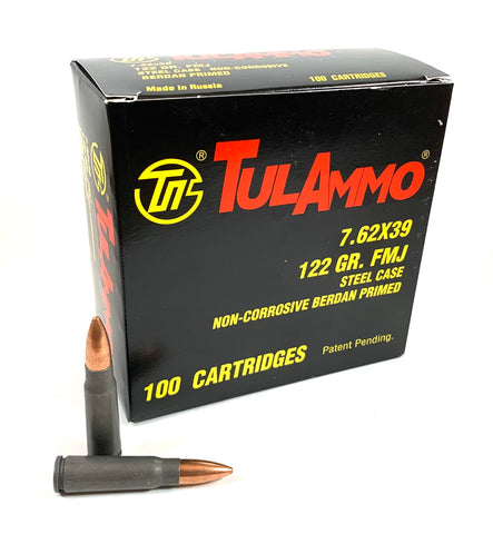 7.62x39 122gr FMJ 100 rounds - TulAmmo