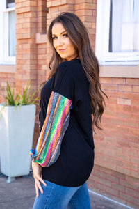 Blouse with Serape Sequin Sleeve