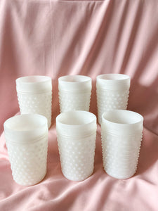 Milk Glass Hobnail Pitcher and Set of 6 Glasses