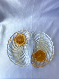 'Orange and Fern I' Italian Glass Crescent Dish
