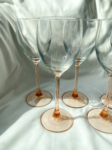 Blush Pink Wine Glasses - Set of 5