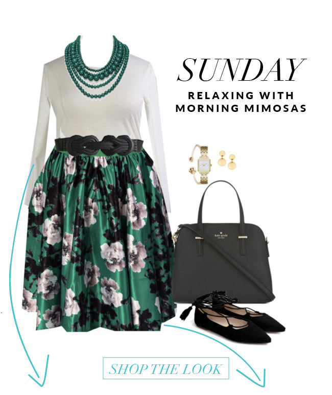 plus size fashion, midi, skirt, floral, green, holiday
