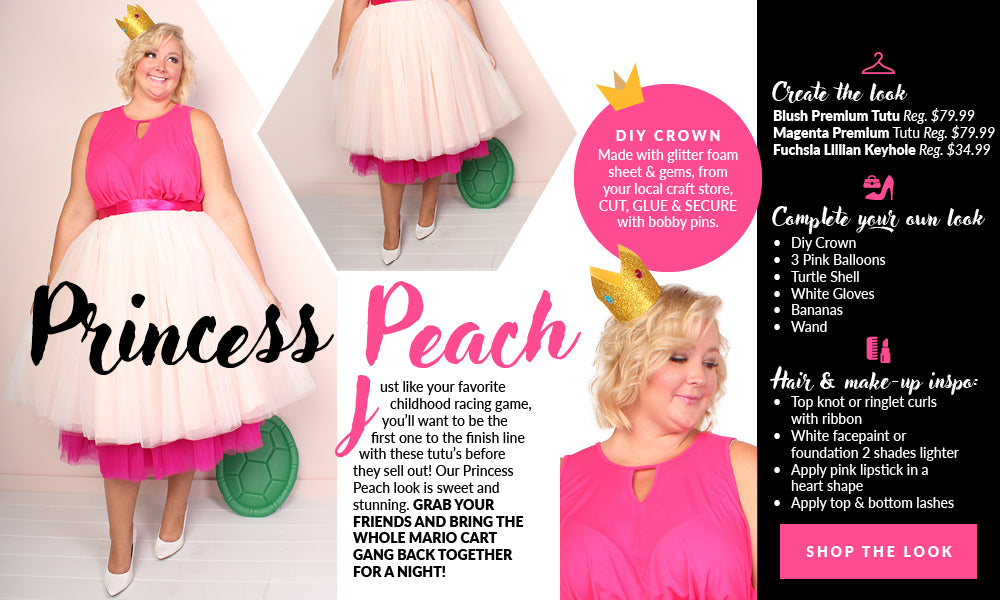Layer the blush and magenta tutu then add a pink top!  sc 1 st  Society Plus & Plus Size Princess Peach Costume u2013 Society Plus