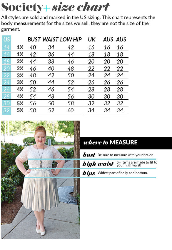 4feac74bf71 Any product we manufacture personally will use a consistent size chart and  include forgiving styles that make shopping easy! Shop those styles in sizes  ...