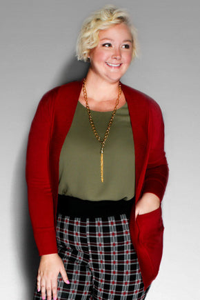 Plus Size Clothing for Women - You, Me, & A Cup of Tea Cardi - Dark Red - Society+ - Society Plus - Buy Online Now! - 1