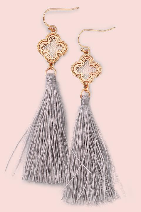 Clover Single Tassel Earrings- Grey