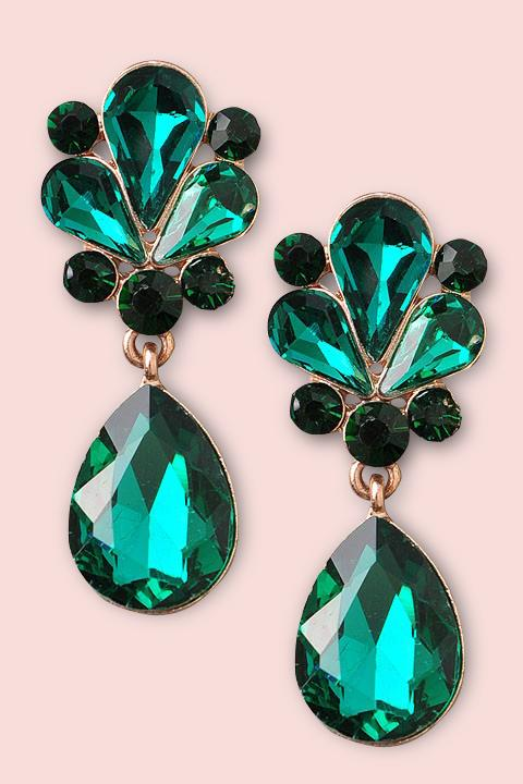 Gem dangle Earrings- Emerald