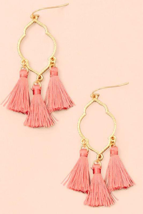 Clover Baby Tassel Dangle Earrings - Mauve