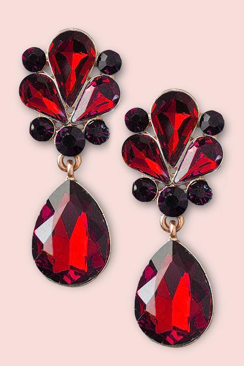 Gem Dangle Earrings - Ruby