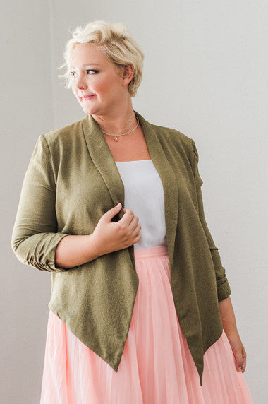 Plus Size Clothing for Women - Hadlee Structured Blazer - Olive - Society+ - Society Plus - Buy Online Now! - 1