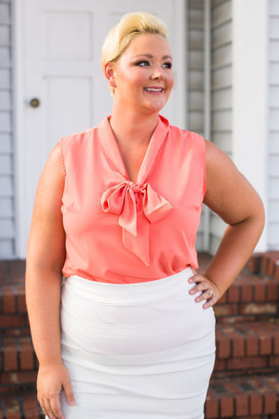 Plus Size Clothing for Women - Sleeveless Bow Blouse - Salmon - Society+ - Society Plus - Buy Online Now! - 1