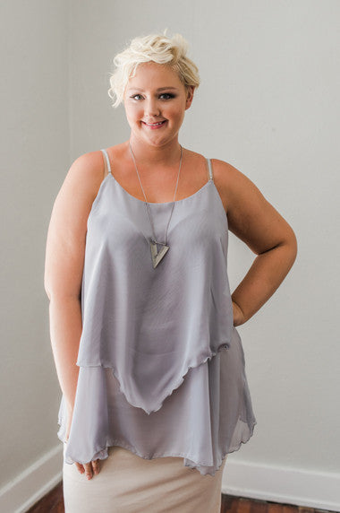 Plus Size Clothing for Women - Iyla Rose Chiffon Top - Grey - Society+ - Society Plus - Buy Online Now! - 1