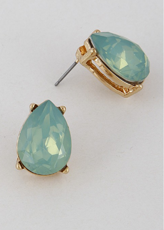 Pear Cut Studs - Opal Teal