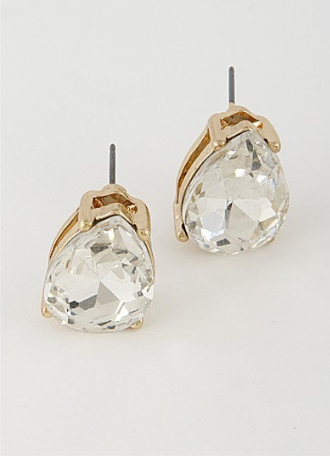 Pear Cut Studs - Clear