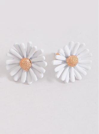 Daisy Stud Earrings - White
