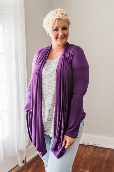 Plus Size Clothing for Women - Waterfall Cardigan - Purple - Society+ - Society Plus - Buy Online Now! - 1