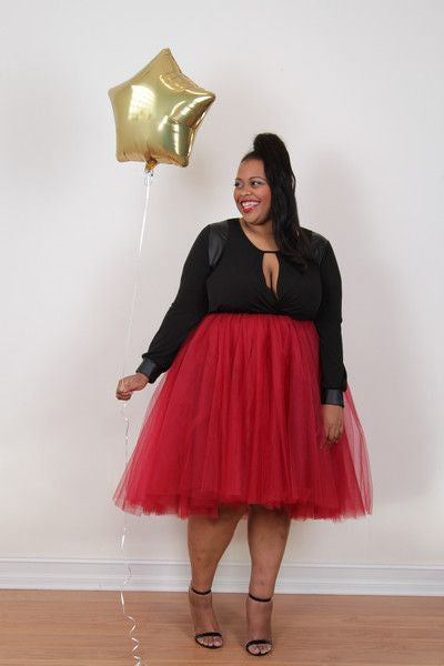 Plus Size Clothing for Women - Society+ Premium Tutu - Cranberry - Society+ - Society Plus - Buy Online Now! - 1