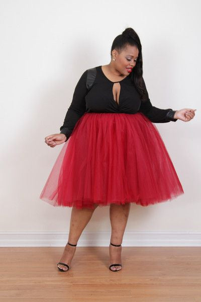 Plus Size Clothing for Women - Society+ Premium Tutu - Cranberry - Society+ - Society Plus - Buy Online Now! - 2