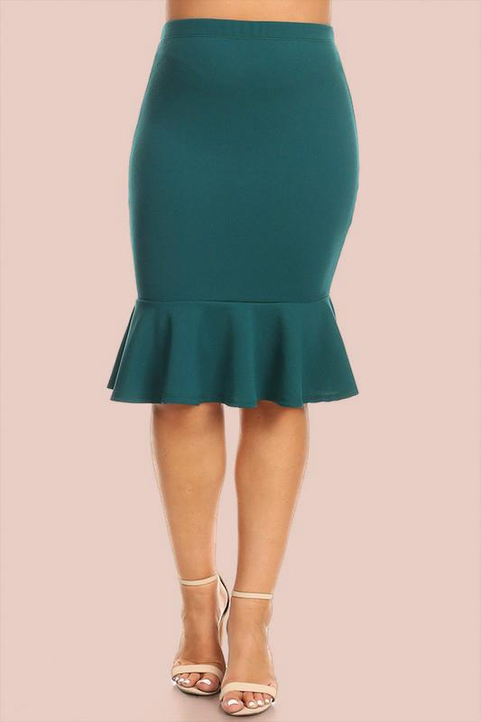 Mellie Super Stretch Ruffle Skirt - Green