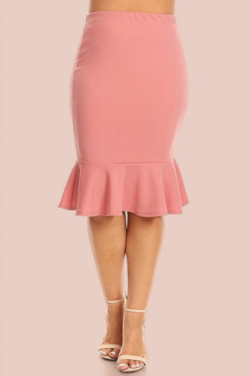 Mellie Super Stretch Ruffle Skirt - Mauve