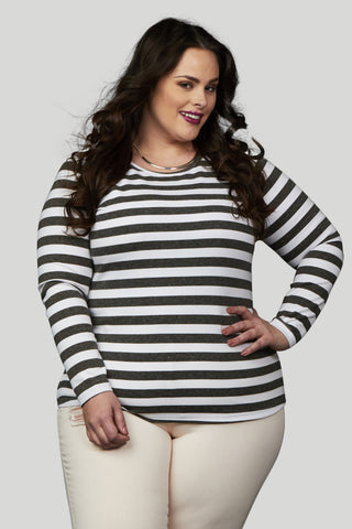 Miss Audra Fitted Long Sleeve Top - White/Caramel