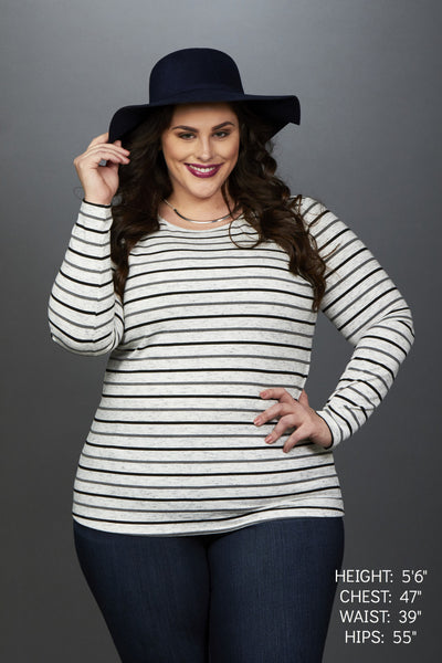 Plus Size Clothing for Women - Miss Audra Long Sleeve Top - Grey with Charcoal/Black - Society+ - Society Plus - Buy Online Now! - 1