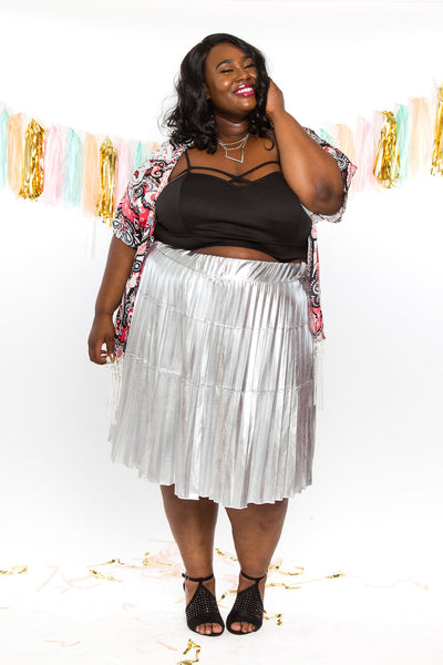 Plus Size Clothing for Women - Jessica Kane Silver Skirt - Society+ - Society Plus - Buy Online Now! - 4