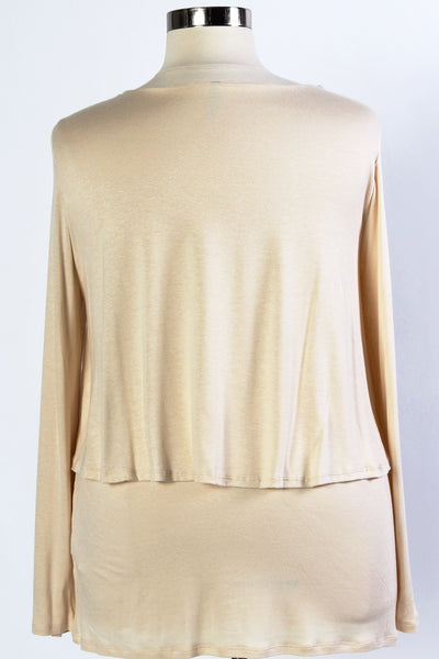 Plus Size Clothing for Women - Bella Long Sleeve Layered Top - Cream - Society+ - Society Plus - Buy Online Now! - 4