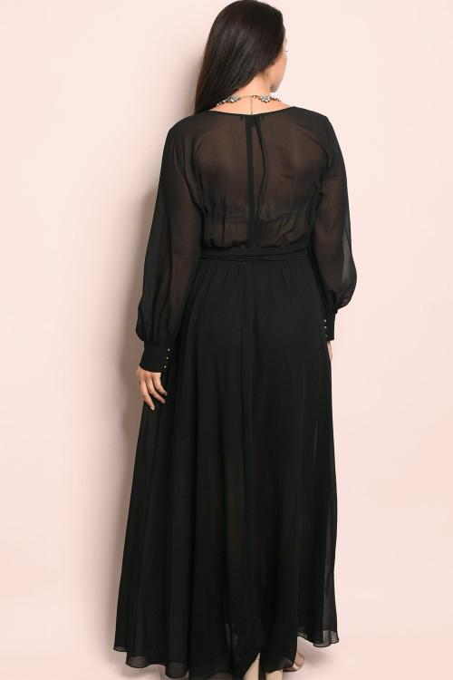 Chevonne Maxi Wrap Dress - Black